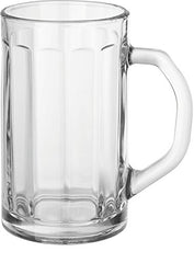 Circleware Glass Beer Mugs with Handle, Set of 4 Heavy Base Fun Entertainment Glassware Beverage Drinking Cups for Water, Wine, Juice and Bar Dining Decor Novelty Gift, 16.4 oz, Downtown Pub 4pc