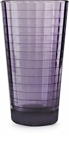 Circleware 44822 Plum Heavy Base Juice Drinking Glasses, Set of 4, Kitchen Entertainment Ice Tea Beverage Cups Glassware for Water, Milk, Beer, Whiskey and Bar Decor Gift, Windowpane 4pc-17oz