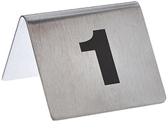 "TableCraft Products T125 2.5"" x 2"" Number Tents 1-25, Stainless Steel"