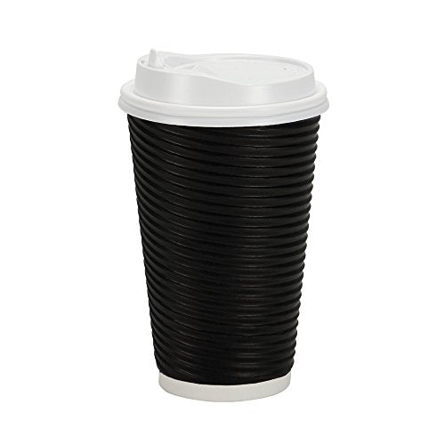 PREMIUM Disposable Hot Paper Cups With Lids, Double Wall & Ripple Insulation For Heat Protection, Black, 30 Count - 16 oz.