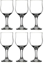 Circleware 44566 Concord Street Wine Glasses, Set of 6 All-Purpose Elegant Party Beverage Glassware Drinking Cups for Water, Juice, Beer, Liquor, Whiskey Bar Dining Gift, Farmhouse Decor, 8 oz, Clear