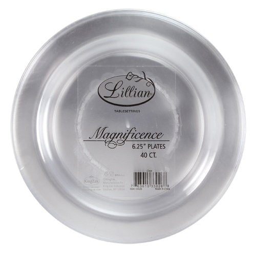 Premium Quality Heavyweight Plastic Plates China Like. Wedding and Party Dinnerware Plastic Plates 6.25 inc Clear-Value Pack 40 Count