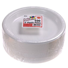 Party Dimensions 100 Count Plastic Plate, 9-Inch, White, Club Pack
