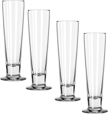Circleware 44053 Philosophy Wine Pilsner Beer Glasses, Set of 4, Kitchen Entertainment Dinnerware Drinking Glassware for Water, Juice and Bar Liquor Dining Decor Beverage Gifts, 14 oz
