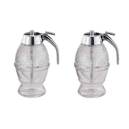 Mrs. Anderson's Clear Glass Honey and Syrup Honeycomb Dispenser, Set of 2