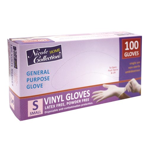 Nicole Home Collection 05024 Vinyl Gloves, Small, White (Pack of 100)
