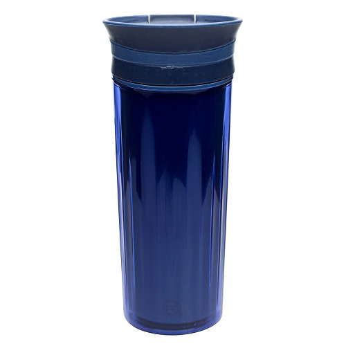 Zak! Designs Insulated Fluted Travel Tumbler in Indigo, BPA-free and Break-resistant Plastic, Double Wall Construction and Leak-proof Slide Lid, 16 oz. Capacity