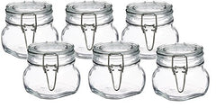 Bormioli Rocco Fido Clear Glass Jar with 85 mm Gasket ,0.5 Liter (Pack of 6)