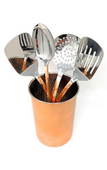 "Home Essentials 5-Piece Copper Finish Hammered Utensil Crock Tool Set (7"" x 5"")"