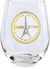 Circleware 77026 Paris Stemless Wine Glasses, Set of 4 Drinking Glassware for Water, Juice, Beer, Liquor and Best Selling Kitchen & Home Decor Bar Dining Beverage Gifts, 18.9 oz, Clear
