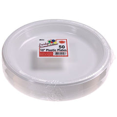 Party Dimensions 50 Count Plastic Plate, 10-Inch, White, Club Pack
