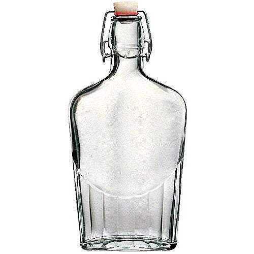 Bormioli Rocco Fiaschetta Glass 17 Ounce Pocket Flask, Set of 2