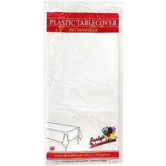 Plastic Party Tablecloths - Disposable, Rectangular Tablecovers - 8 Pack - White - By Party Dimensions