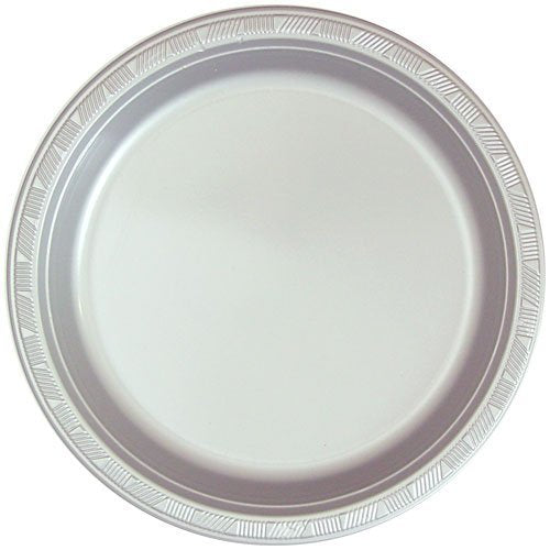 Hanna K. Signature Collection 50 Count Plastic Plate, 10-Inch, Silver