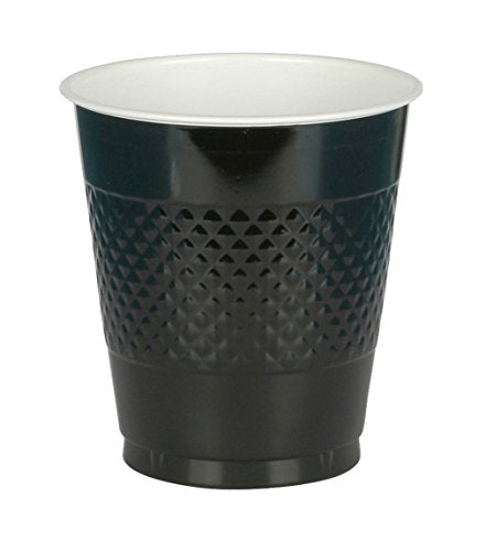 Amscan (AMSDD) Reusable Plastic Cups Big Bundle Party Tableware, Black, 16oz, Pack of 50