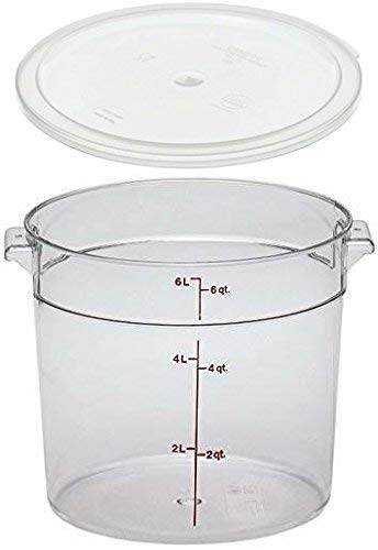 Cambro RFSCW6135 Camwear 6-Quart Clear Round Food Storage Container with Cambro RFSCWC6135 Clear Round Lid