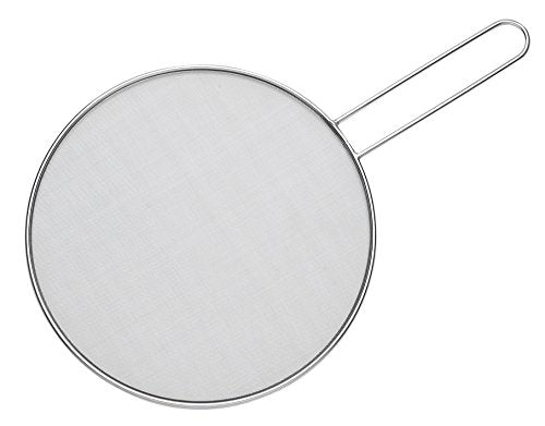 HIC Harold Import Co. 30026 Splatter Screen Guard Strainer, 18/8 Stainless Steel, Fine Mesh, 9-Inches
