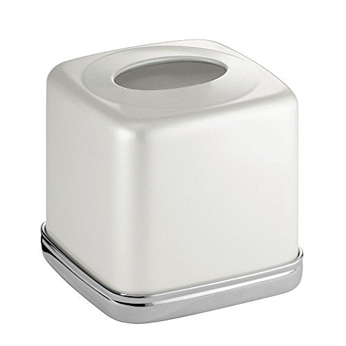 InterDesign York Bath, Facial Tissue Box Cover/Holder for Bathroom Vanity Countertops - Pearl White