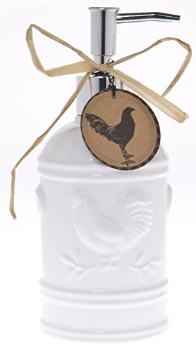 Ceramic Rooster Soap Dispenser- Lotion Dispenser for Kitchen or Bathroom Countertops in Aqua, Red or White (White)