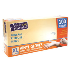 Nicole Home Collection 05025 Vinyl Gloves, X-Large, White (Pack of 100)