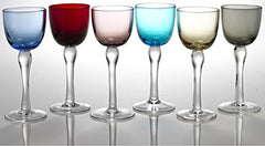Circleware Splendor Multi Colored Cordial Glasses with Clear Stems, Set of 6, 2 ounce