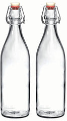 Bormioli Rocco Giara Clear Glass Bottle With Stopper, 33 3/4 oz. (2, Clear)