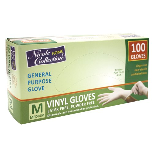 Nicole Home Collection 05023 Vinyl Gloves, Medium, White (Pack of 100)