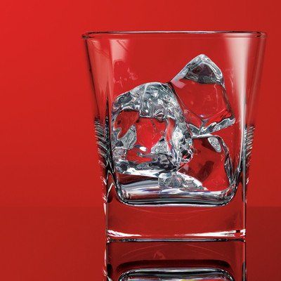 Red Series 10 oz. Square Double Old Fashioned Glass (Set of 4)