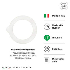 Bormioli Rocco Jar Replacement Gaskets (Set Of 6): 3.5'' Diameter Fido Jar Compatible, Food Grade Rubber, Leakproof Sealing Rings For Standard Sized Mouth Canning And Storage Containers