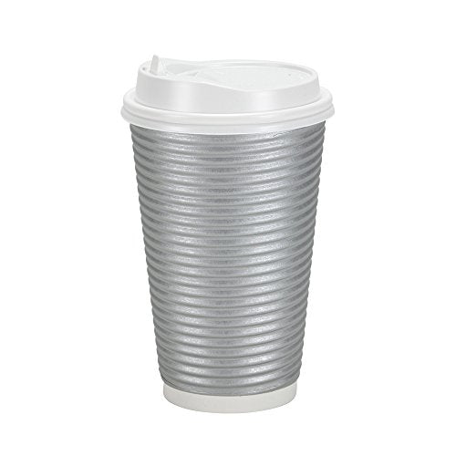 PREMIUM Disposable Hot Paper Cups With Lids| Double Wall & Ripple Insulation For Heat Protection| Perfect For Your Coffee/Tea/Espresso| Birthday/Party/Restaurant Supplies 30 Count