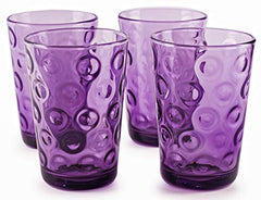 Circleware 44803 Plum Heavy Base Juice Drinking Glasses, Set of 8, Kitchen Entertainment Ice Tea Beverage Cups Glassware for Water, Milk, Beer, Whiskey, Farmhouse Decor, Bar Gifts, Circles 8 pc-7oz