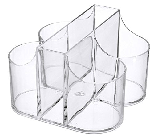 Lillian Tablesettings|Cutlery Caddy Organizer 5 Compartment - Silverware Organizer & Napkin Holder - Clear