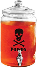 Circleware Poison Skull Face Mason Jar Glass Drink Beverage Dispenser with Glass Lid, 1.3 Gallon, Glassware For Water, Juice, Beer, Wine, Liquor, Kombucha Iced Tea Punch & Cold Drinks