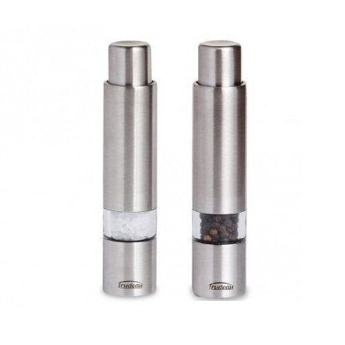 "Trudeau 6"" Stainless Steel One-Hand Thumb Salt & Pepper Mill/Grinder Set"