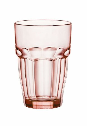 Bormioli Rocco 12.5 oz. Rock Bar Lounge Stackable Long Drink Glass, Peach, Set of 6