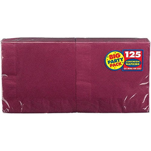 Amscan Big Party Pack 125 Count Luncheon Napkins, Berry
