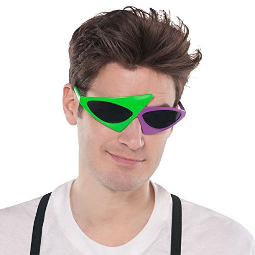 KEKLLE Awesome 80's Party 2-Color Neon Green and Hot Pink Asymmetric Glasses Fashion Accessories, Plastic, One Size Fits Most