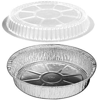 "HandiFoil 7"" TakeOut To-Go Round Disposable Aluminum Foil Pan sets with Plastic Dome Lids, 10 Count, 7 1/8""x 7 1/8"" x 1 1/2"" deep"