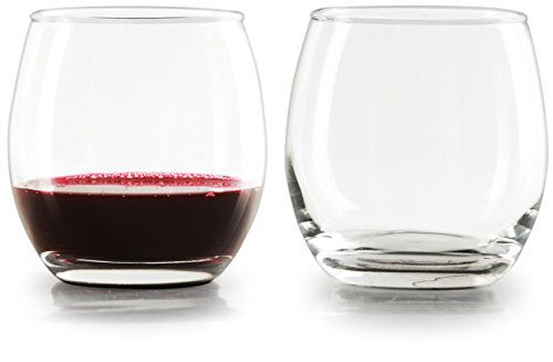 Circleware 44313 Uptown Stemless Red Wine Glasses Set of 4 Drinking Glassware Set, Fun Party Entertainment Dining Beverage Cups for Water, Juice, Beer, Liquor, Whiskey & Home Bar Decor, 12 oz, Clear