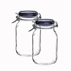 Bormioli Rocco Fido Square Jar's With Blue Lid, 67-3/4-ounce (set of 2)