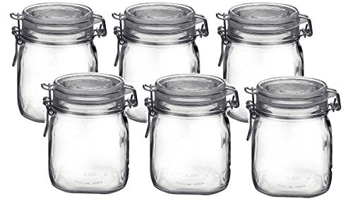 Bormioli Rocco Fido Clear Glass Jar with 85 mm gasket, .75 Liter (Pack of 6)