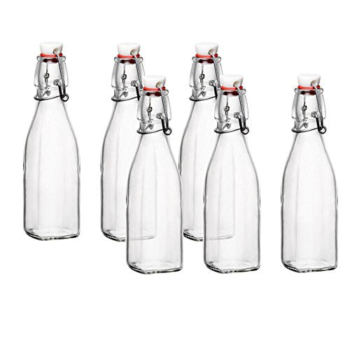 Bormioli Rocco Glass 8.5 Ounce Swing Top Bottle, Set of 6