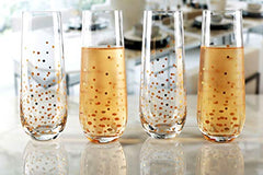 Circleware 77091 Confetti Gold Stemless Champagne Flutes Set of 4 Party Dining Beverage Drinking Wine Glasses, Glassware Cups for Water, Liquor, Whiskey and Decor Gifts, 10.5 oz, 4pc