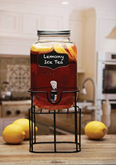 Circleware 66945 Sun Tea Mini Mason Jar Glass Beverage Dispenser with Lid Glassware For Water, Juice, Beer, Wine, Liquor, Kombucha Iced Punch and Cold Drinks Chalkboard 1 Gallon With Stand