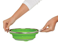 HIC Harold Import Co. 30034 Essential Collapsible Colander, Silicone and Stainless Steel, 3-Quart