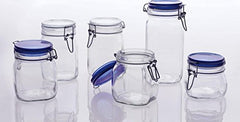 Bormioli Rocco Fido Square Glass Canning Jar with Blue Lid, 0.5 Liter (Pack of 6)