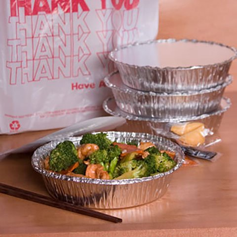 "TakeOut To-Go Round Restaurant Disposable Aluminum Foil Pan sets with Flat Board Lids, 25 Count, 7 1/8""x 7 1/8"" x 1 1/2"" deep"