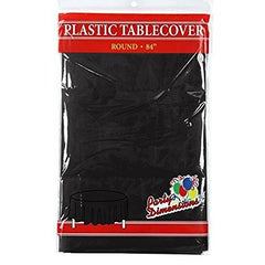 "Black Round Plastic Tablecloth - 4 Pack - Premium Quality Disposable Party Table Covers for Parties and Events - 84"" - By Party Dimensions"