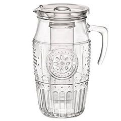 Bormioli Rocco Romantic Water Pitcher – Vintage Victorian Style Glass Carafe With Handle, Lid & Ant-Dilution Ice Core – Elegant Floral Decanter For Iced Tea, Juice, Lemonade, Sangria (60.75oz/1.8L)