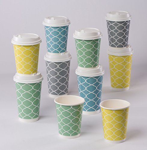 PREMIUM Disposable Paper Cups Wite Lids, Double Wall Insulation For Heat Protection, 16 oz. 28 Count